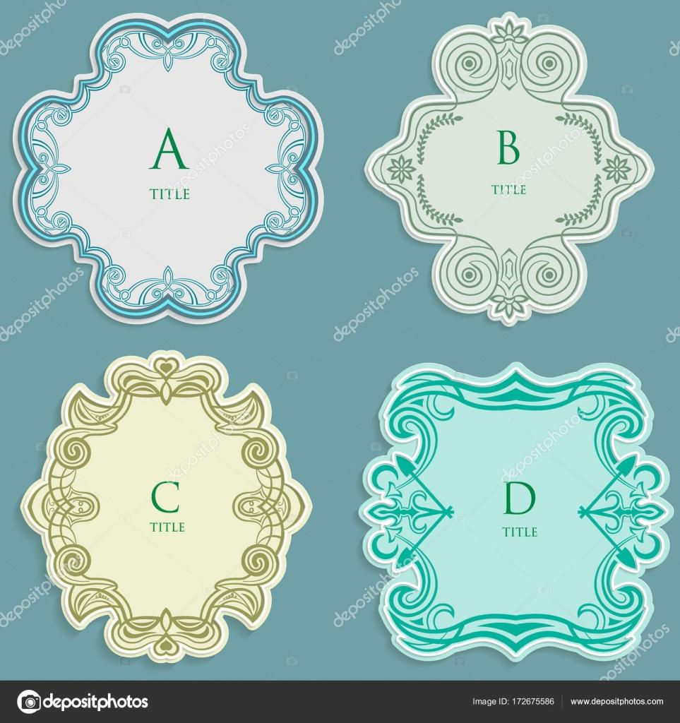 Etiqueta vector Set, vintage marco para una inscripción, Adorno ...