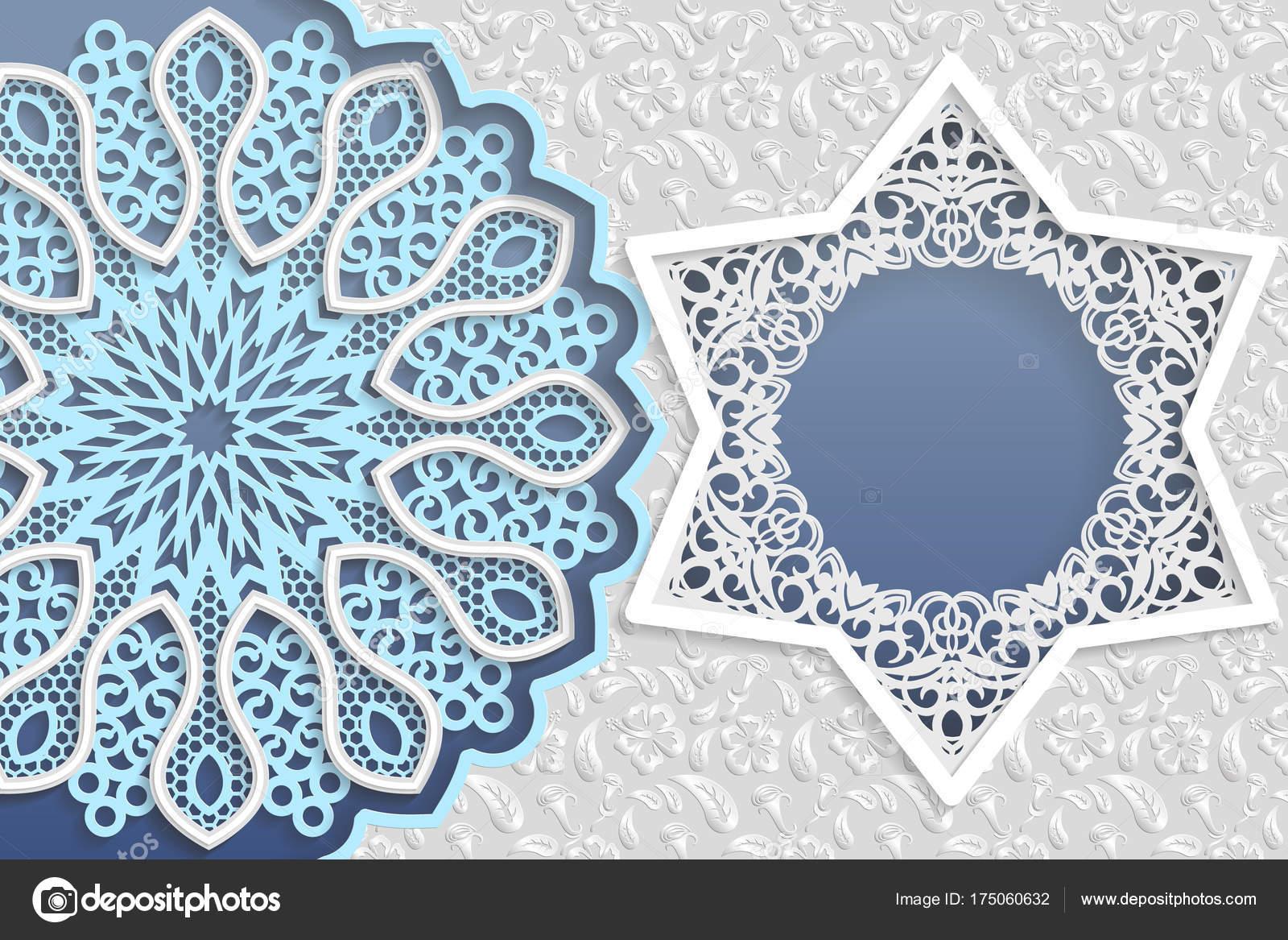 Template Wedding Greetings Invitations Mandala Star Shaped Frame ...