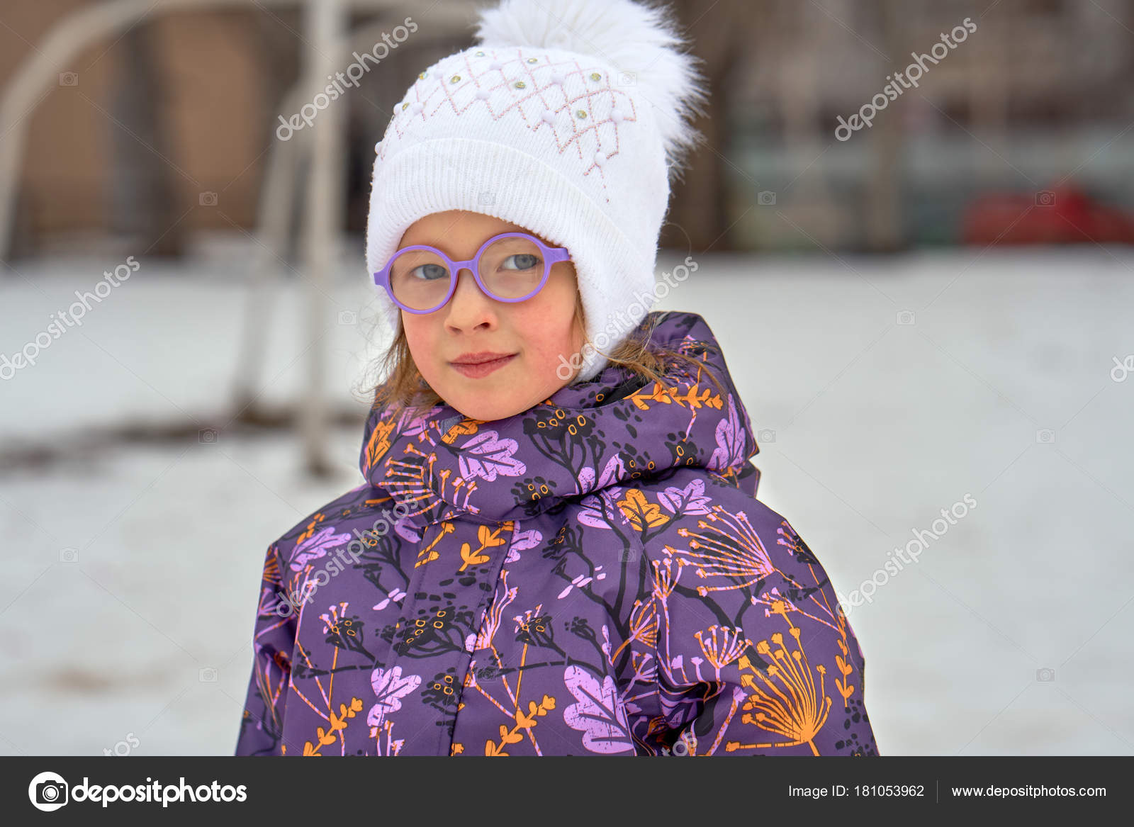 661c0ab63 Portrait Child Girl Glasses Winter Walk Girl Dressed Hat Jacket ...