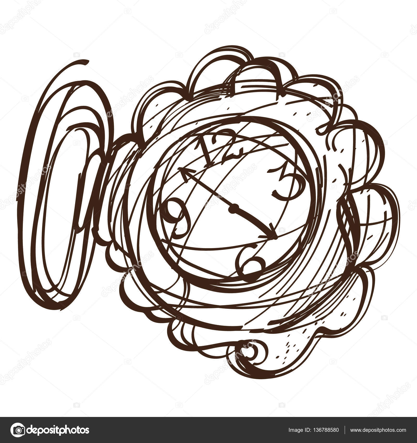 Fairy Pocket Watch Black And White Outline Of A Sketch Illustration