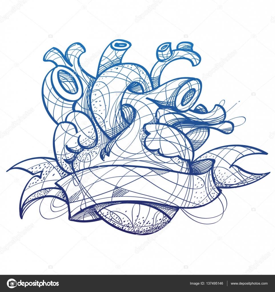 Coraz n del tatuaje dibujo dibujo a mano estilo imagen for Trota da colorare
