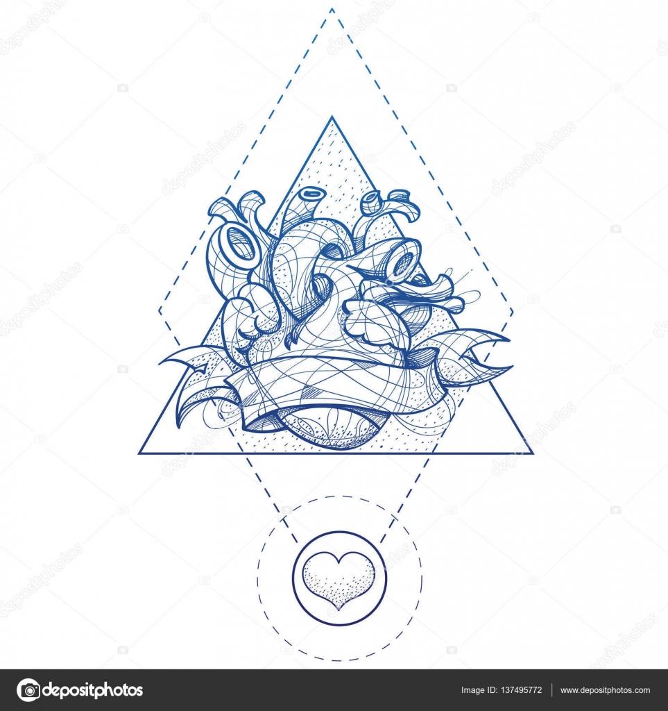 Kalp Dövme Kroki El çizim Stili Resim Boyama Stok Vektör