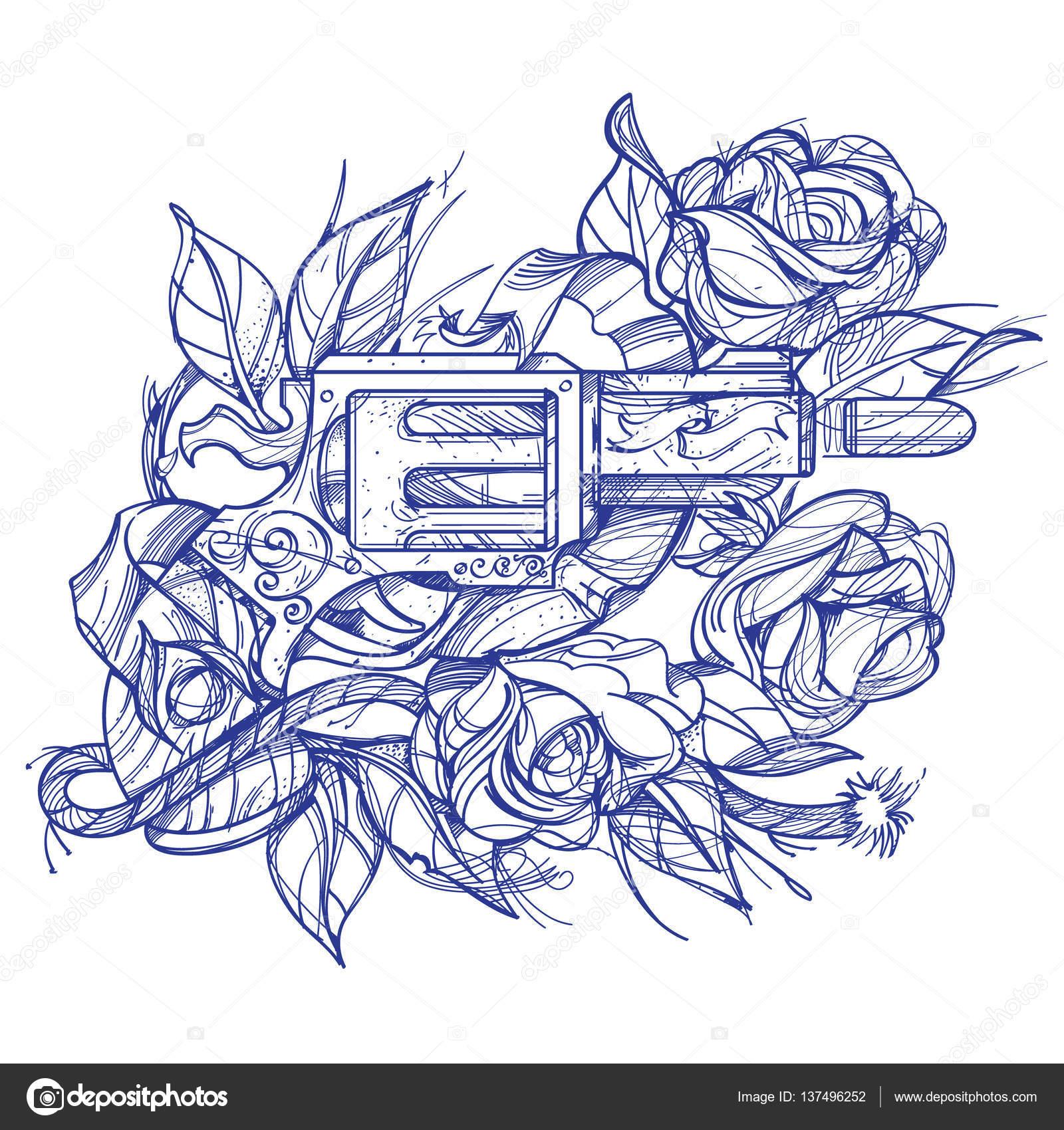 Armas y rosas tatuaje estilo de dibujo a mano. Imagen para colorear ...