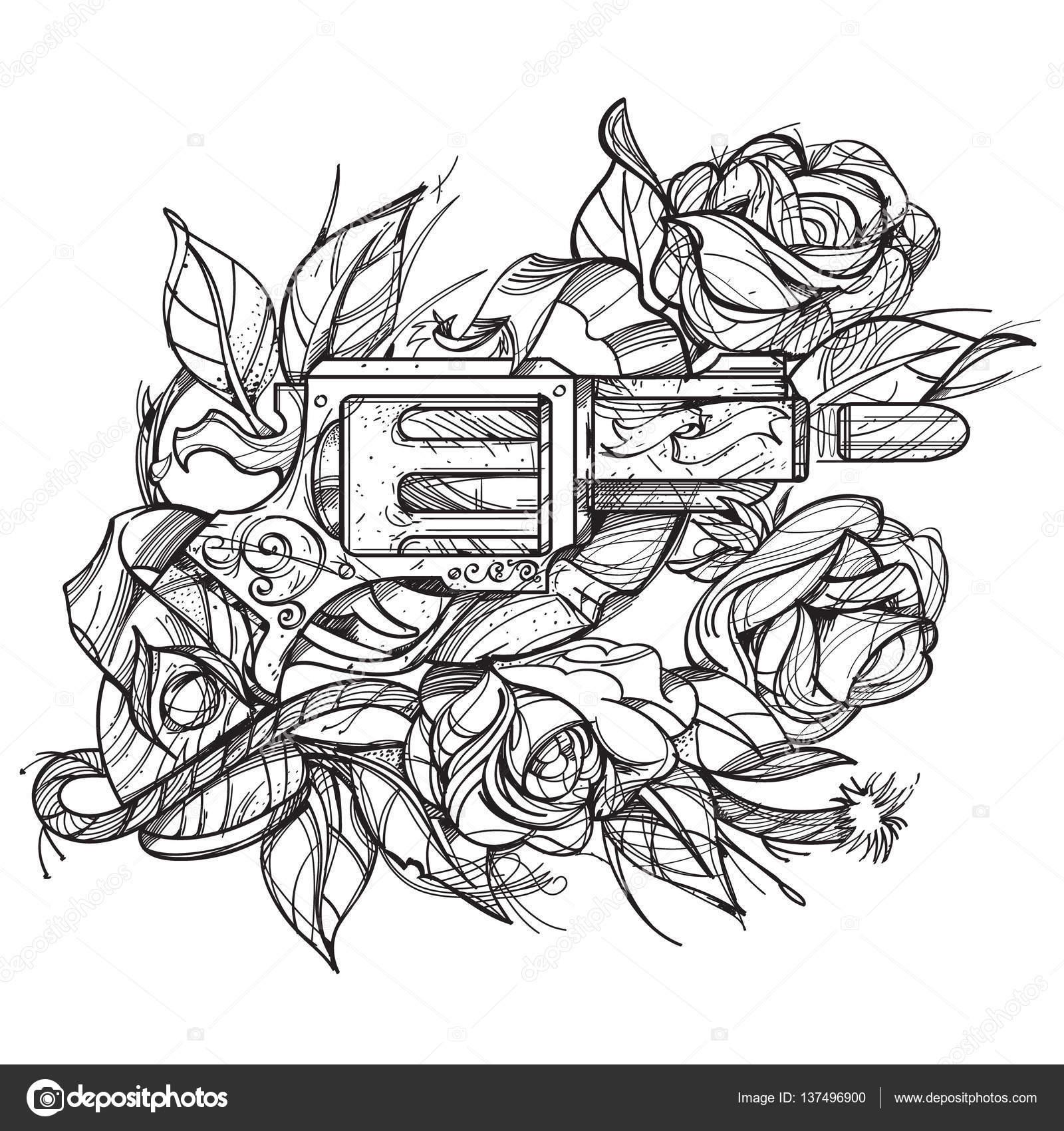 Armas Y Rosas Tatuaje Estilo De Dibujo A Mano Imagen Para Colorear