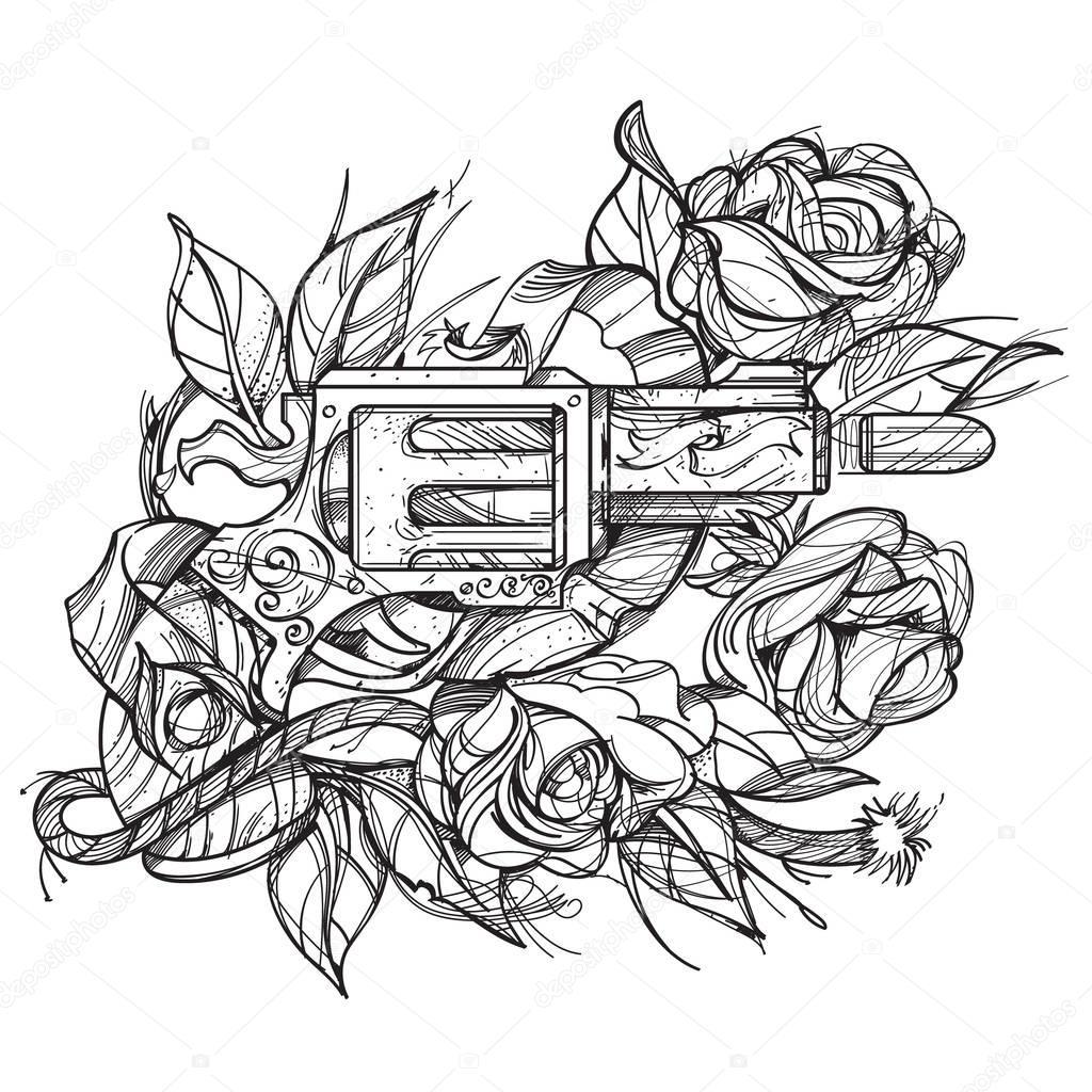 Pistolet et roses tatouent main style de dessin image colorier image vectorielle filkusto - Pistolet a colorier ...
