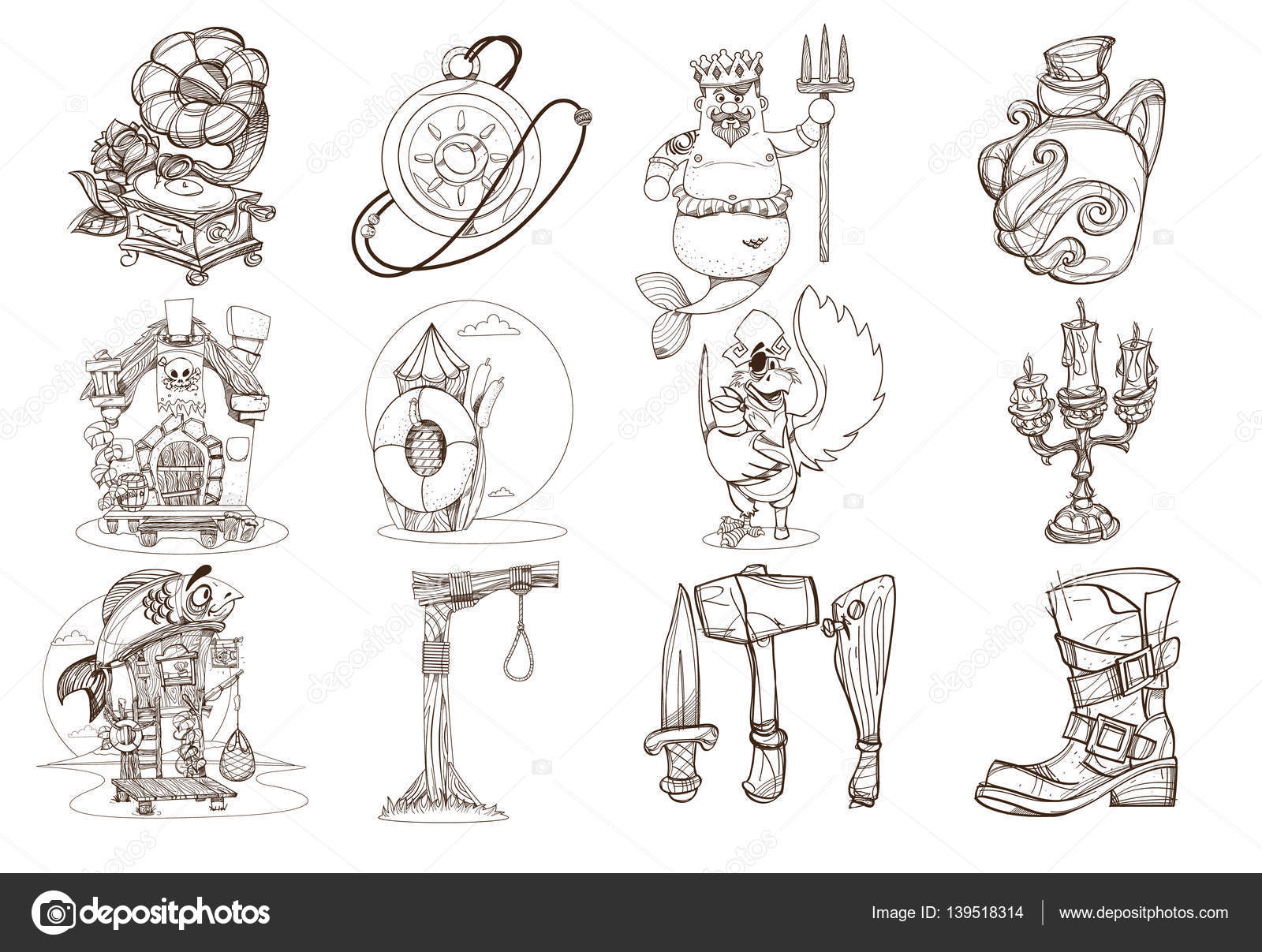 set outline illustrations for coloring on the theme of pirates and