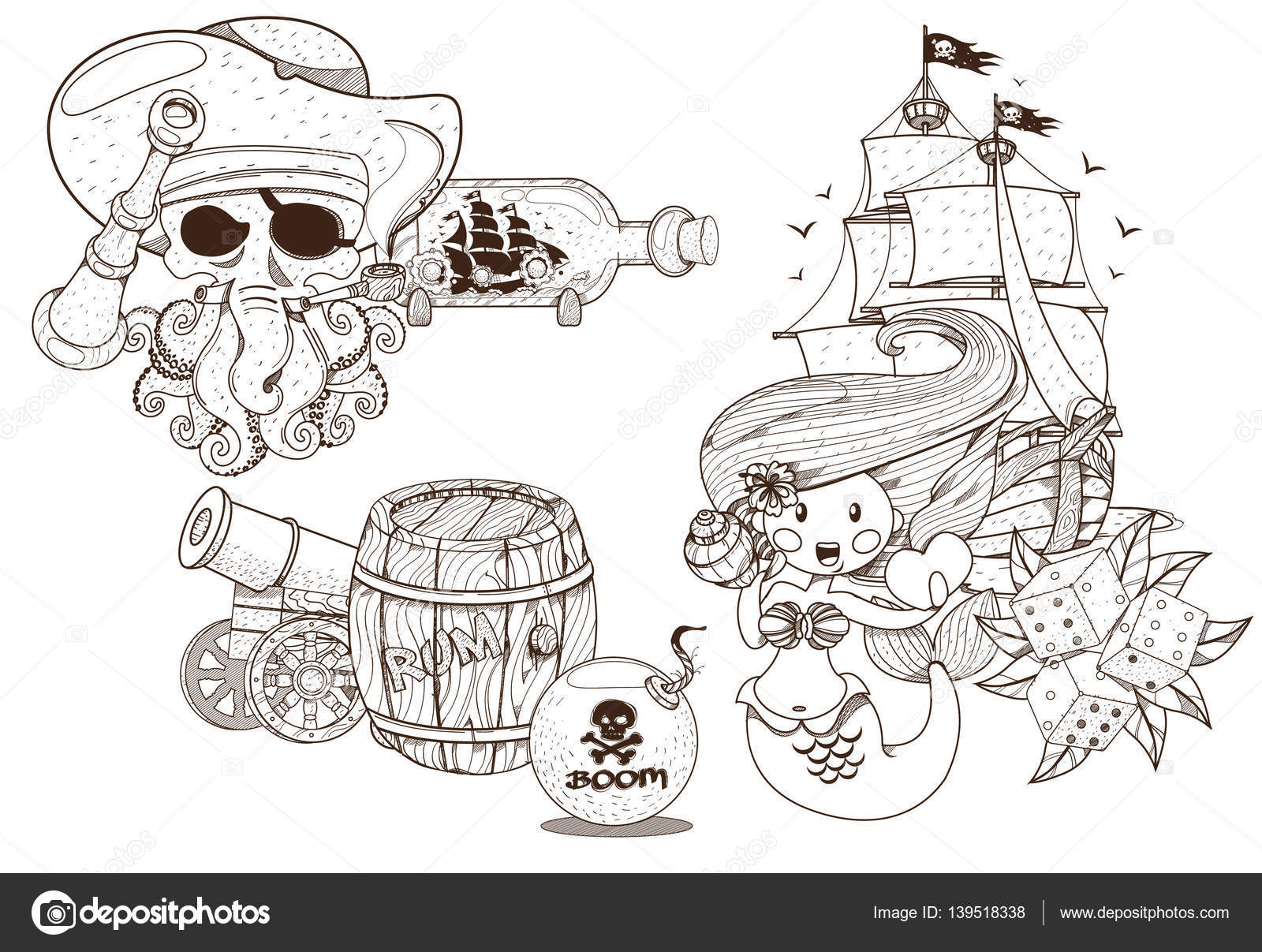 Piraten-Design. Die kleine Meerjungfrau und The Jolly Roger set ...