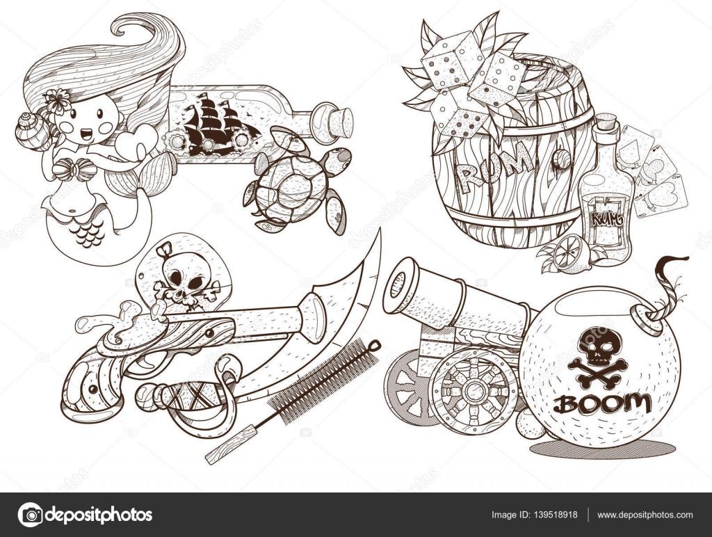 Ladrones de mar de aventura. Conjunto de ilustraciones en blanco y ...
