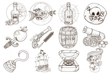 Set outline illustrations for coloring on the theme of pirates. Attributes and different things sea robbers. Adventure clipart.