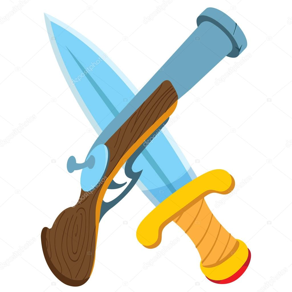 Pistol and sword. Cartoon drawing for gaming mobile applications.