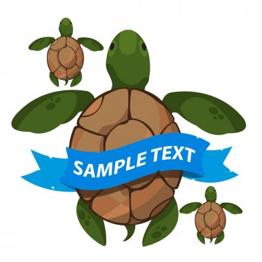 Sea turtles with ribbon banner. Clipart on the marine theme. Animal protection.