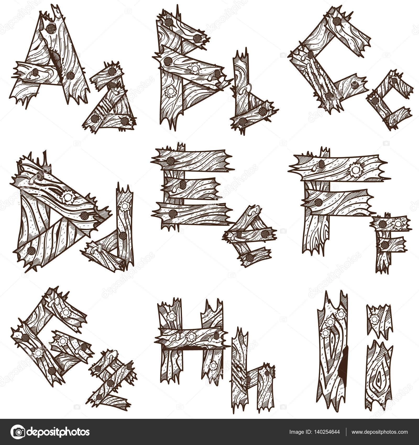 Alfabeto de pedazos de madera. El diseño original de la fuente de ...