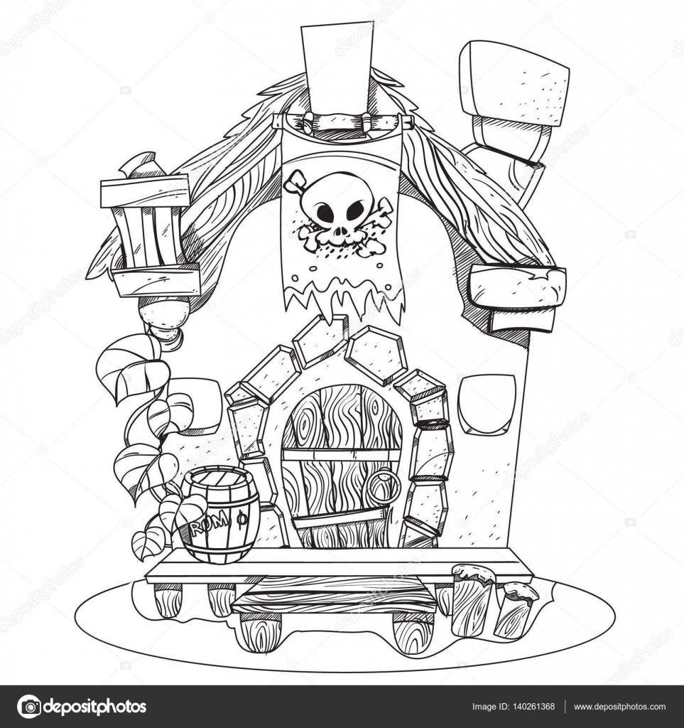 Cabane des sorcières bande dessinée illustration dune magicienne de la maison dessin pour applications mobiles de jeux illustration à colorier vecteur