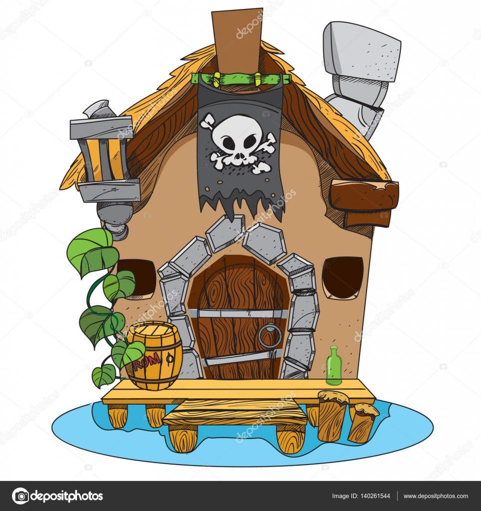 Cabane des sorcières bande dessinée illustration dune magicienne de la maison dessin pour applications mobiles de jeux vecteur par