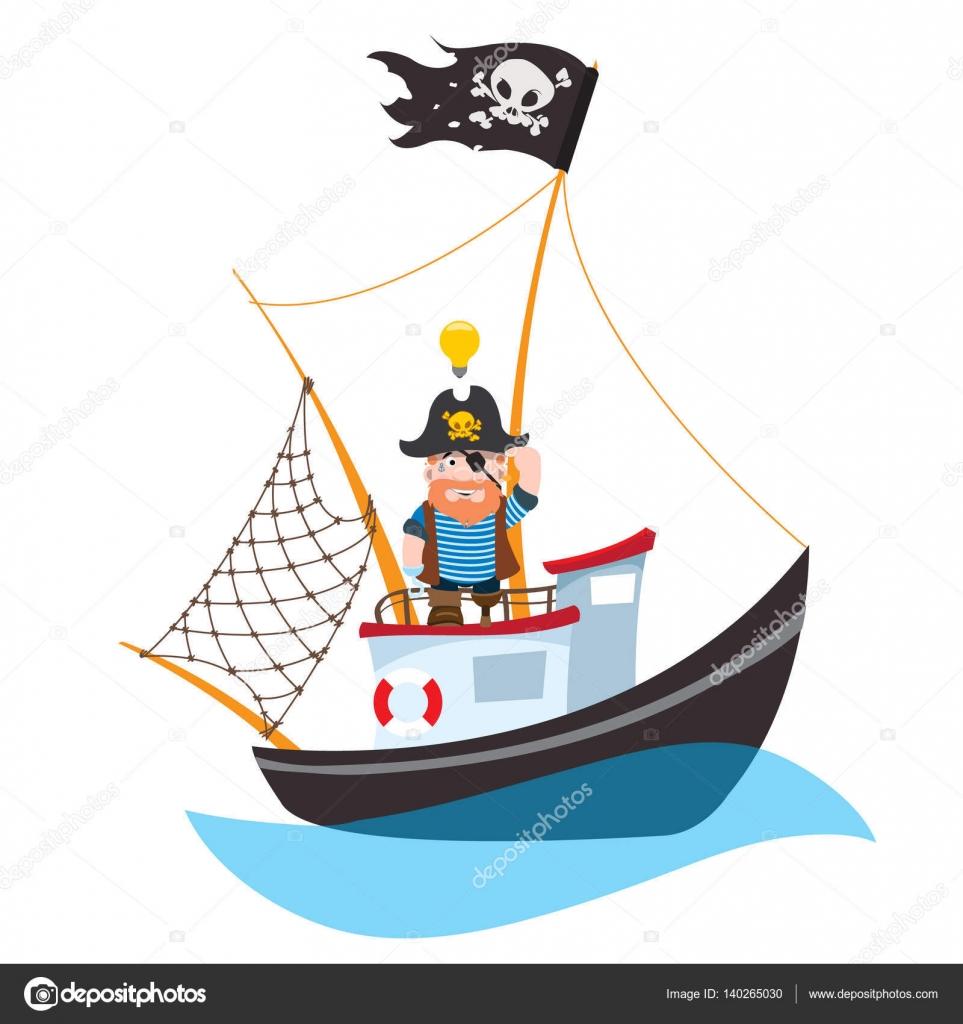 Capitan De Barco Caricatura Pirata De La Caricatura En Barco