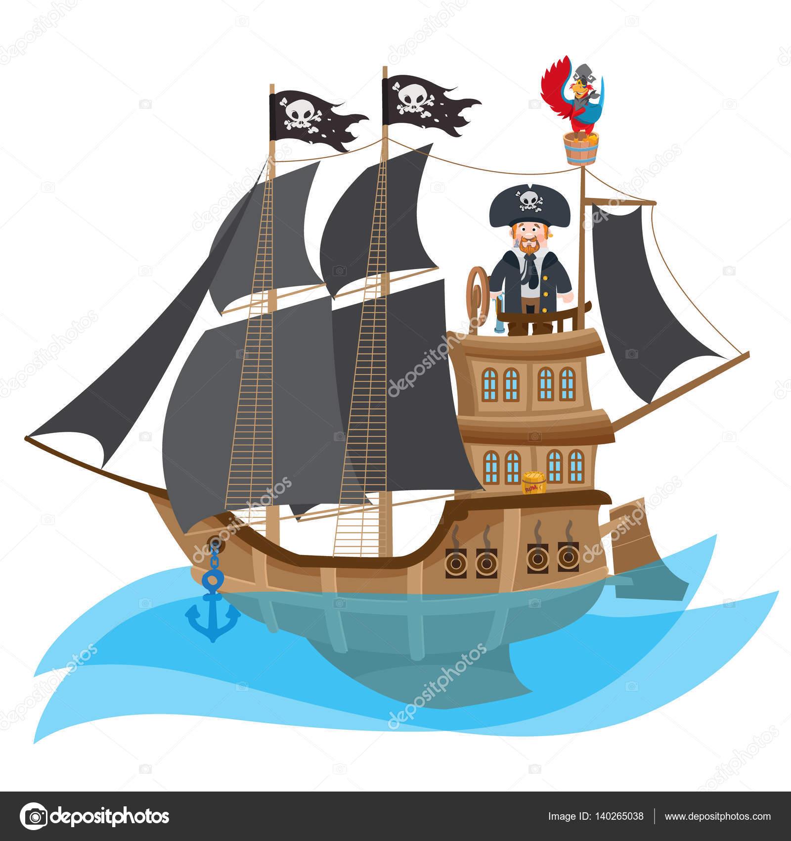 Imágenes Barco Caricatura Pirata De La Caricatura En Barco
