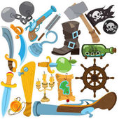 Photo Set illustrations with pirate attributes