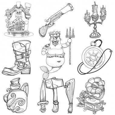Set illustrations with pirate attributes
