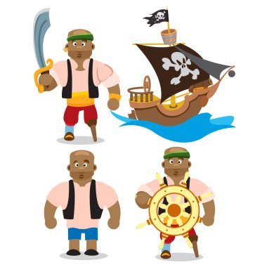 African man and pirate ship