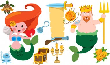 Cartoon Neptune and mermaid