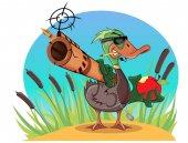 Fotografie Cartoon-Ente mit Pistole