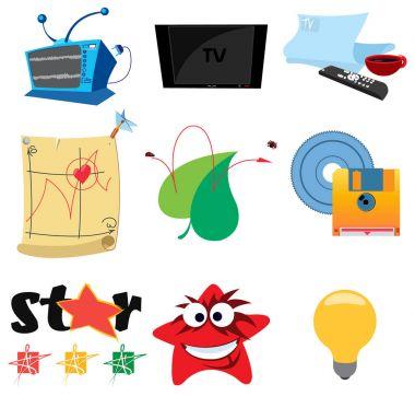 Television icons set