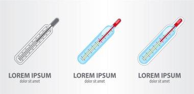 Thermometer logos set