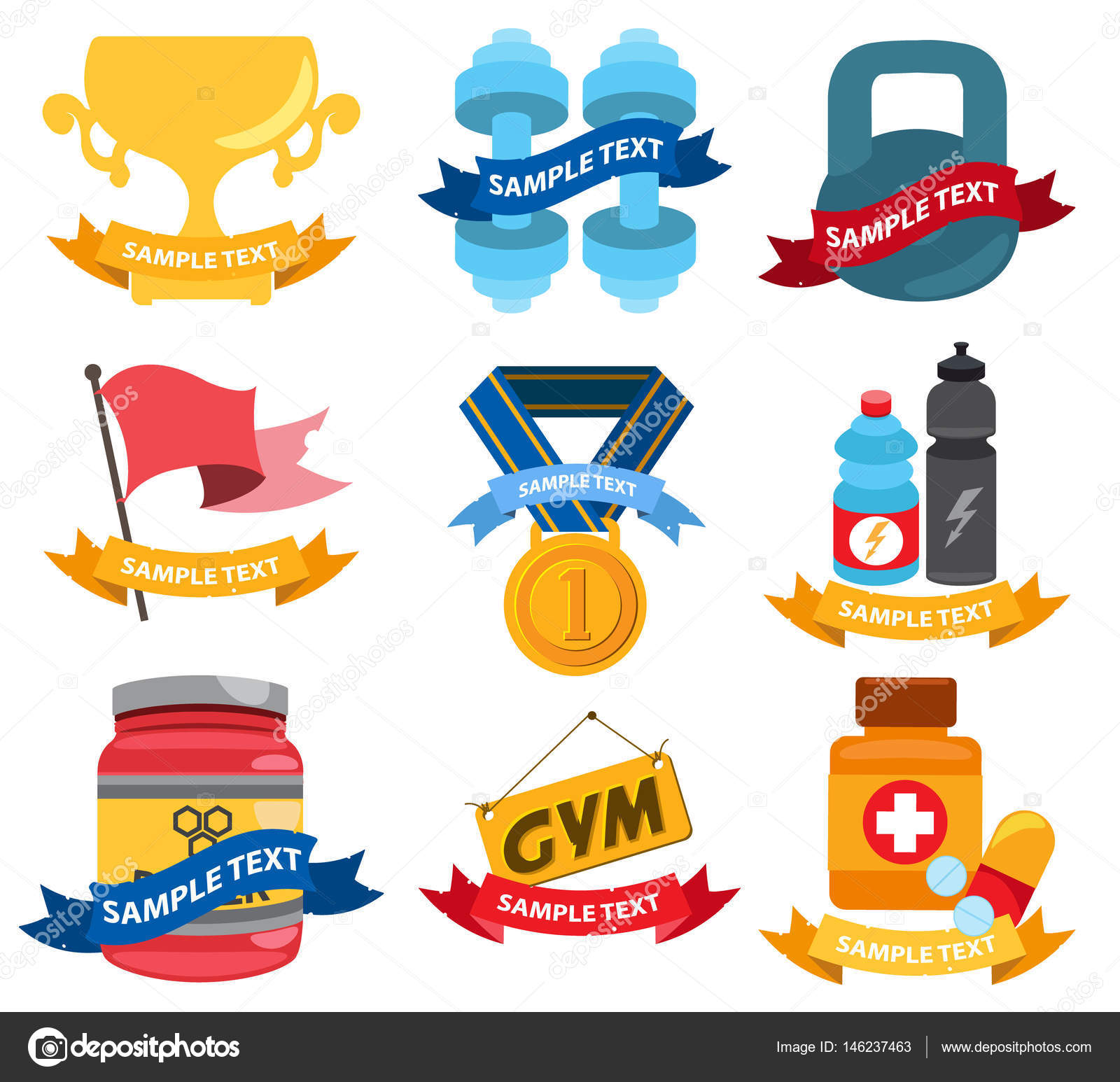 logos fitness workout gym sport set on white background vector by filkusto