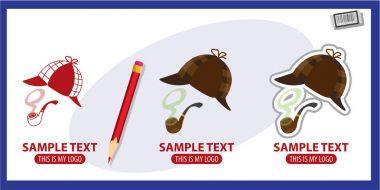 Detective inventory logos set