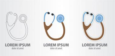 Stethoscope logos set