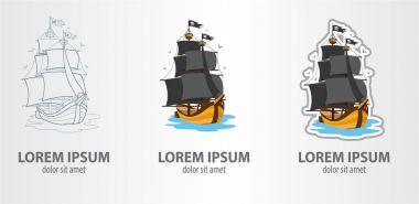 Pirate ship logos set