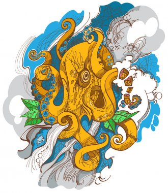Hand drawn tattoo sketch