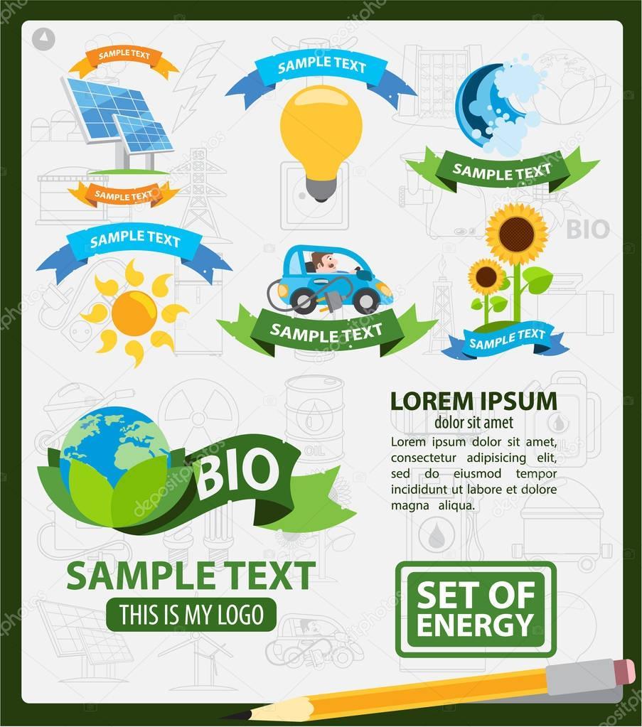 Energetics logos, energetics infographics