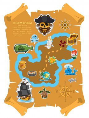 Old parchment with pirate map