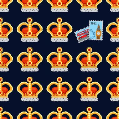 Seamless pattern britain signs