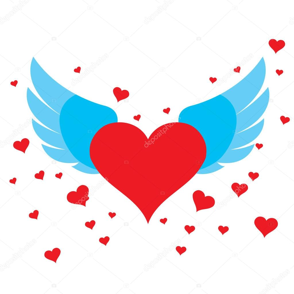 Heart with wings for design