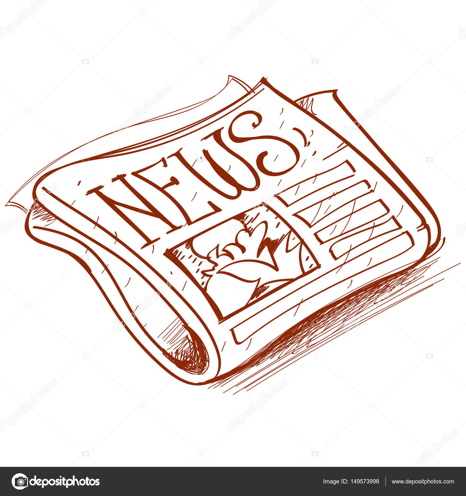Newspaper Outline Drawingvector Illustration Vector By Filkusto