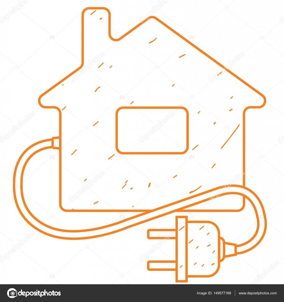 Symbol-Hütte mit einem elektrischen Stecker — Stockvektor © filkusto ...