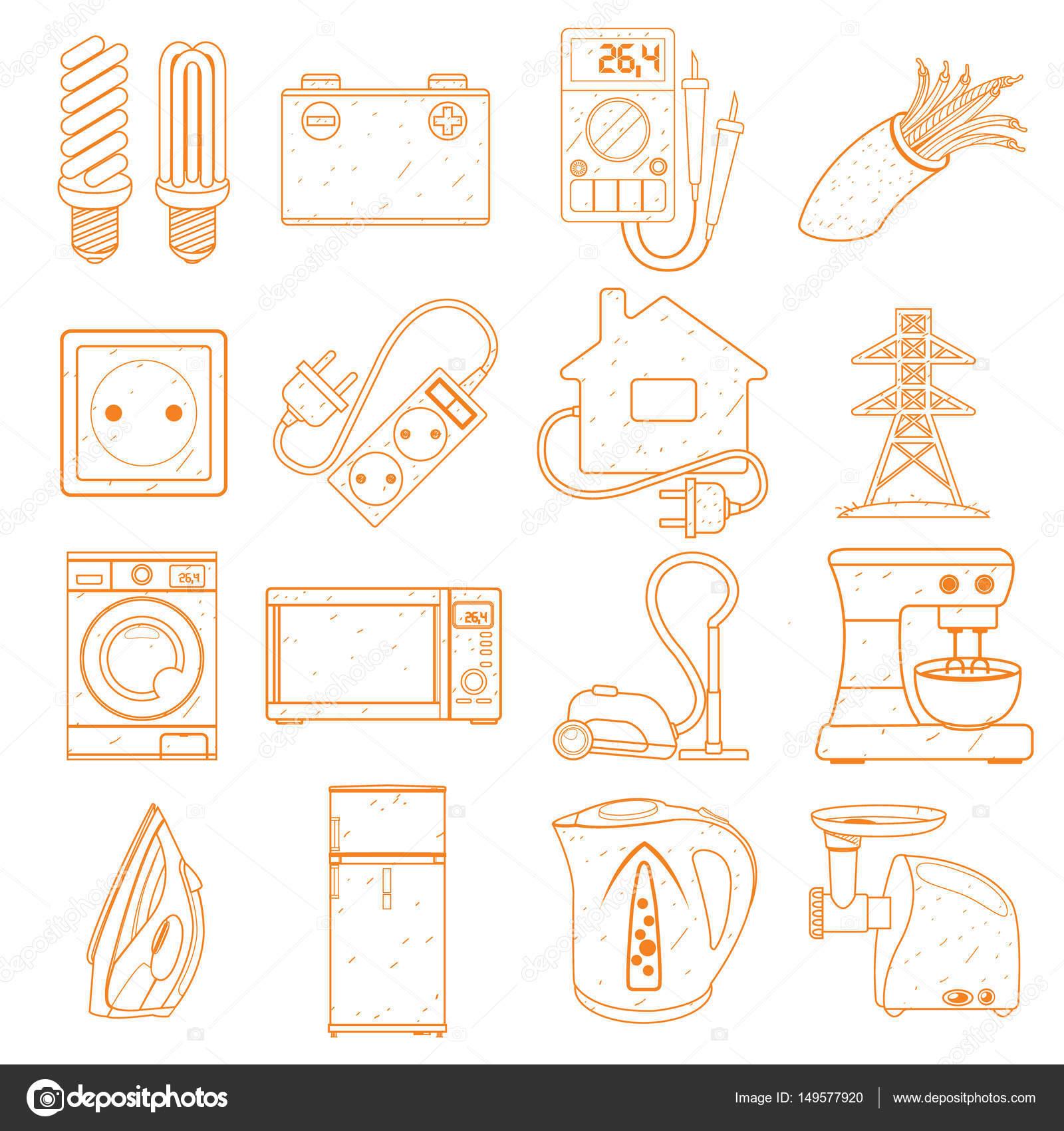 Elektrische Energie in unserem Leben, Symbole — Stockvektor ...