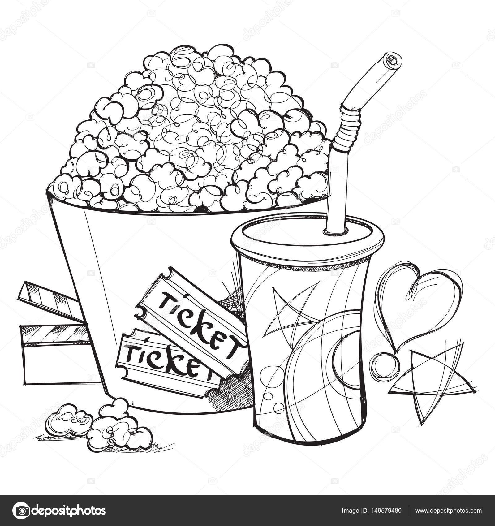 Popcorn kernel drawing | Popcorn and cup of lemonade outline