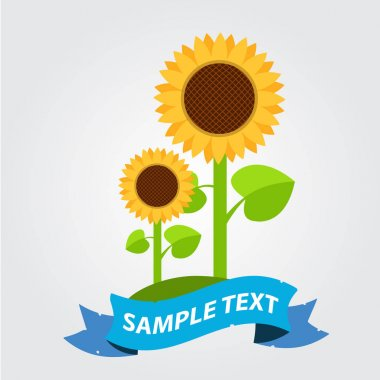 Sunflowers icon with banner for text