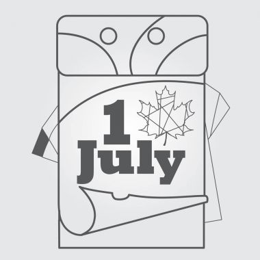 Canada Day July 1 icon outline drawing.