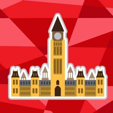 """Картина, постер, плакат, фотообои """"Парламент Канады на полигон красный фон."""", артикул 149575440"""