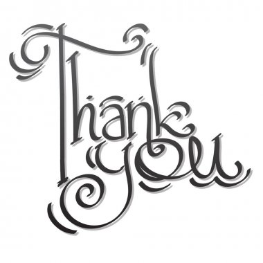 Thank you lettering hand drawing.