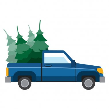 Pick-up driven in the trunk of a Christmas trees.
