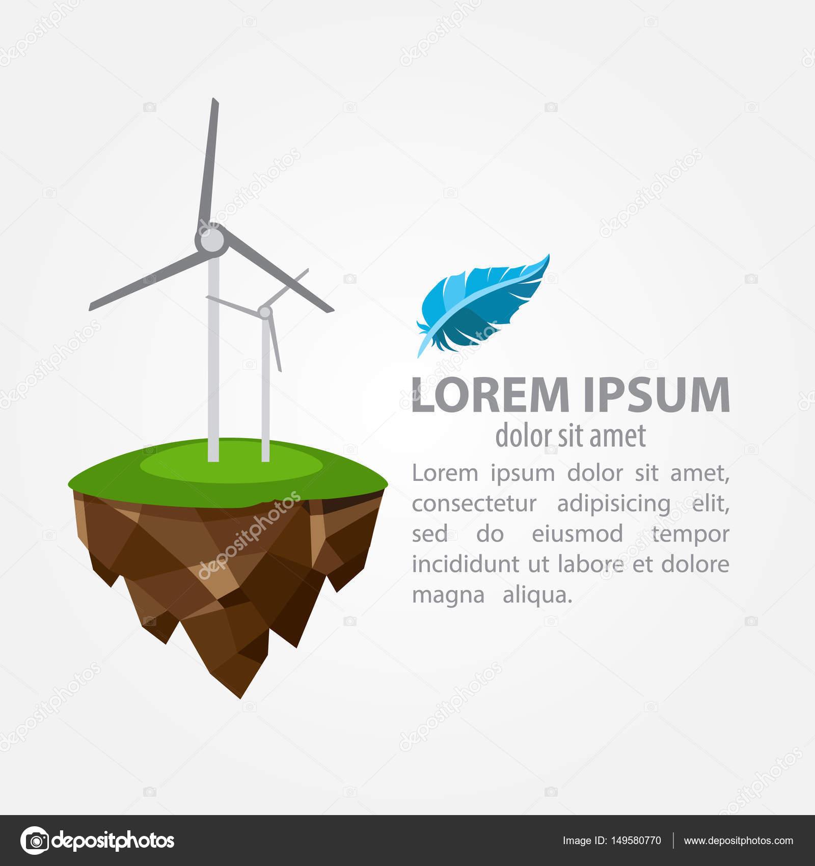 Molino de viento. Fuentes de energía alternativas de plantilla de ...