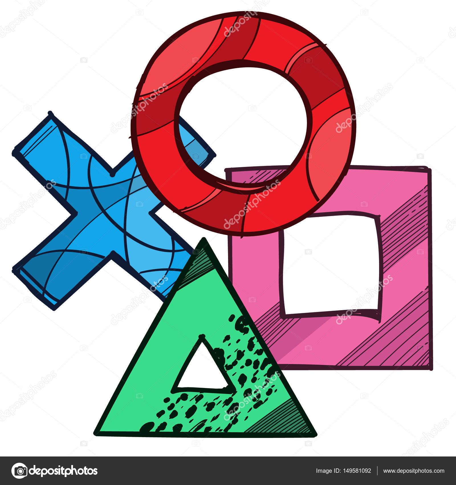 Cross Circle Square Triangle Game Pad Symbols Stock Vector