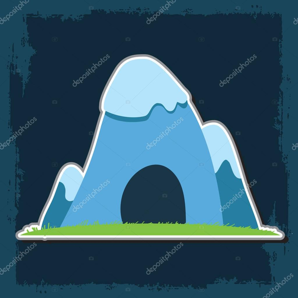Mountain with caves and mineral deposits