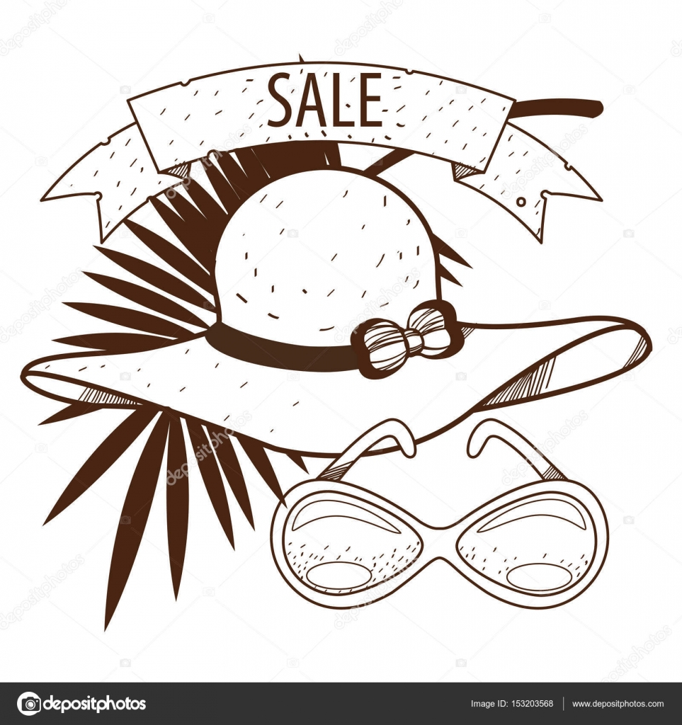 Damen Hut, Sonnenbrille, Palmblatt zum Verkauf — Stockvektor ...