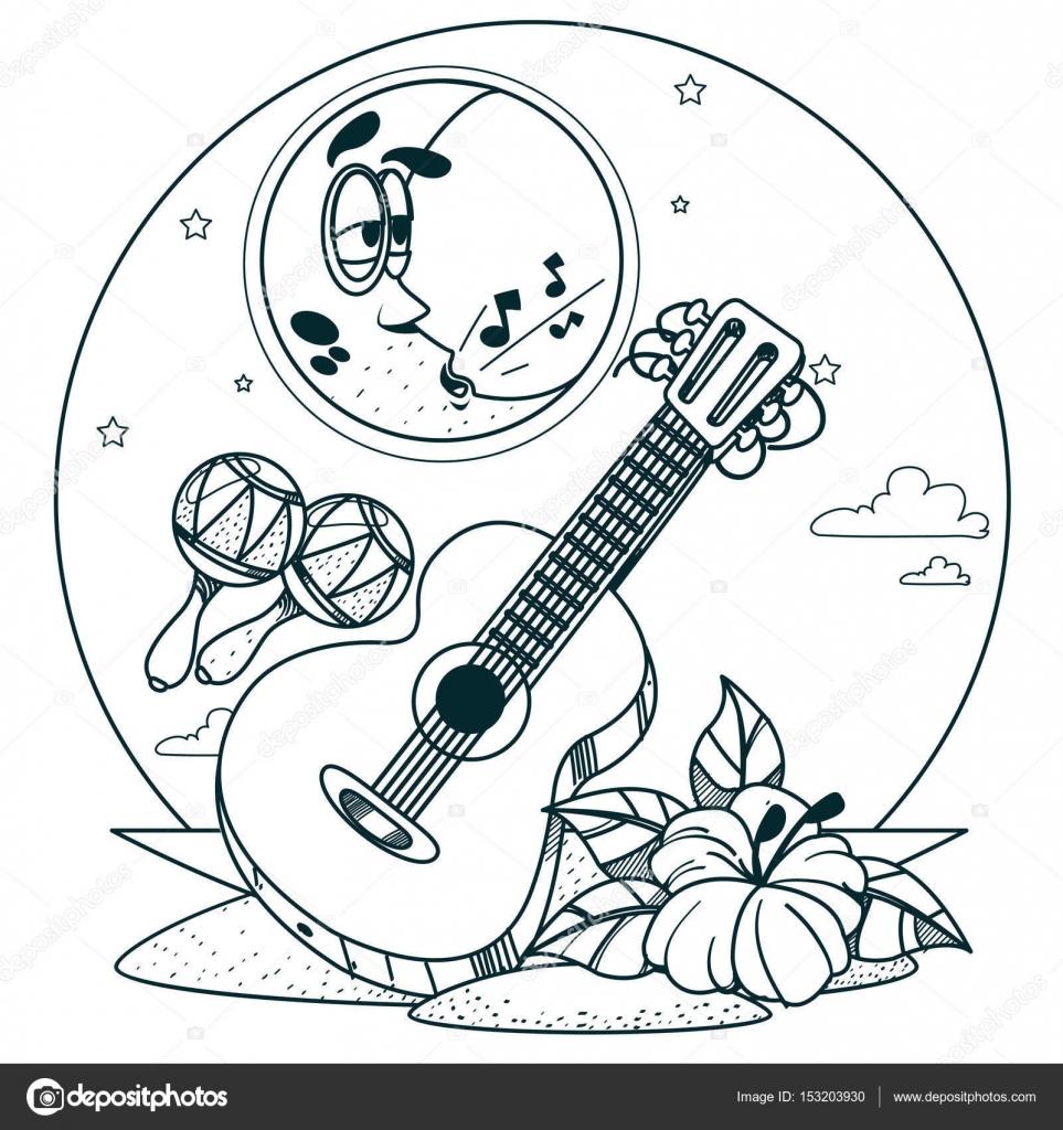 guitarra e maracas para colorir vetores de stock filkusto 153203930